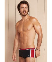 Black and red mens boxer shorts with white bands - DIONISIO
