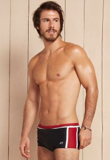 Beyaz çizgili siyah/kırmızı erkek yüzme boxeri - DIONISIO