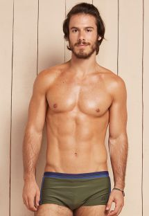 Khaki men`s sunga swimming trunks with blue bands - EROS