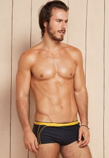 Black and yellow two-tone sunga swimming trunks - HELIO