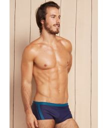 Navy blue/petrol blue two-tone sunga swimming trunks - HERACLES