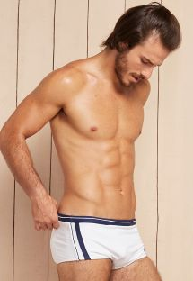 White and navy blue two-tone sunga swimming trunks - HERCULES