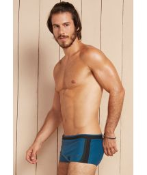 Petrol blue/green sunga swimming shorts with textured black band - HERMES
