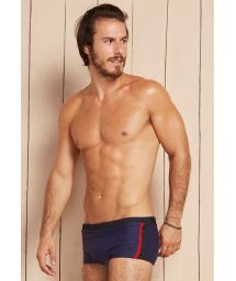 Navy blue/red sunga swimming trunks with textured black detailing - LISTRA LATERAL