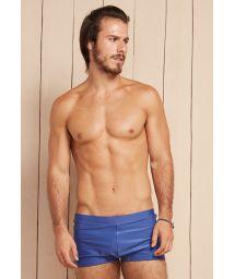 Solid blue men`s boxer bathing trunks - LOTA DRACONIS