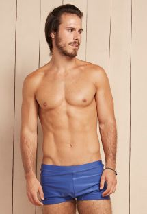 Solid blue men`s boxer bathing trunks - LOTA DRACONIS