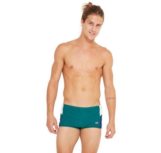 Dark green swim trunks with contrasting details - MONZ FIT BANDEIRA