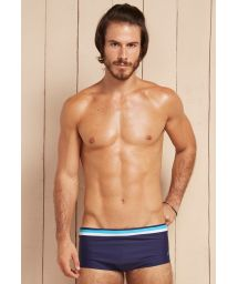 Navy blue sunga swimming trunks with sky blue/white stripes - ORIS