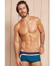 Mens sunga swimming trunks navy blue/white/petrol blue - PARAISO TROPICAL