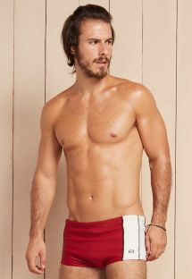 Red/white boxer briefs swim trunks with black stitching - PITANGA