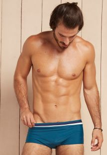Petrol blue sunga swimming trunks with navy blue/white stripes - PLUTAO