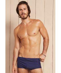 Navy blue men`s sunga swimming trunks with textured insert - POSSEIDON