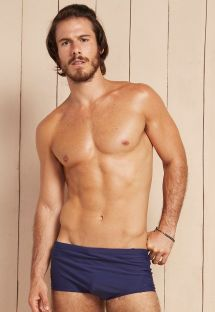 Navy blue men`s sunga swimming trunks with textured insert - POSSEIDON