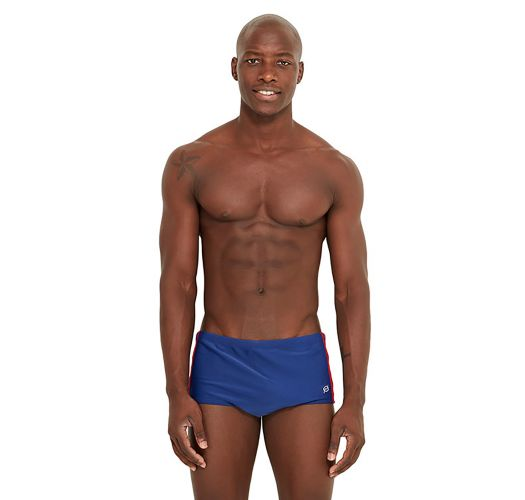 Navy swim trunks wit tricolor side stripes - SKATE FURACAO
