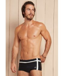 Mens black sunga swimming trunks with white bands - SOLEI