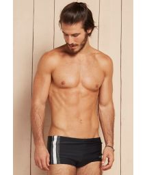 Mens black and white sunga swimming trunks with overstitching - THOR
