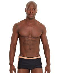 Black swim trunks with contrasting stripe - VINTAGE PRETO