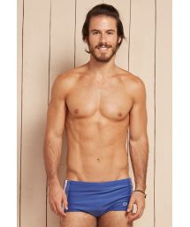 Denim blue and white sunga swimming trunks with overstitching - ZEUS