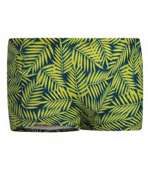 Man swim boxer with a pocket - yellow foliage - SUNGA BOXER C/ ZIPER AMARELO