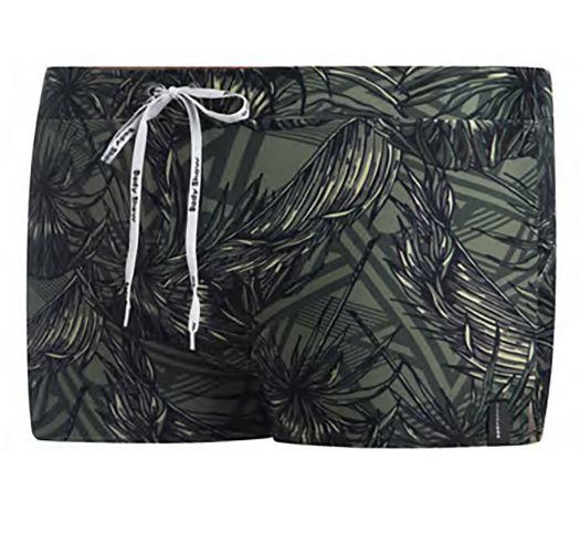 Zwembroek voor heren met touwtjes - kaki met tropische print- SUNGA SHORTS KAKI TROPIC