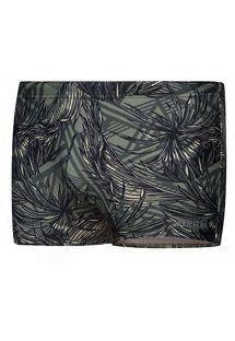 Comfortabele zwembroek voor heren - kaki met tropische print - SUNGÃO KAKI TROPIC