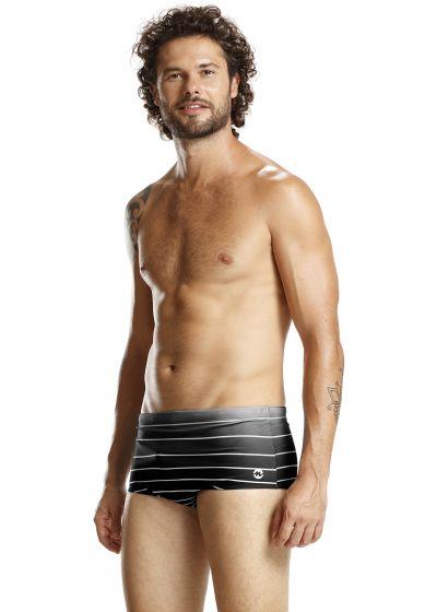 Graded black swim trunks with white stripes - BLACK LISTROS