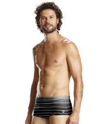 Graded black swim trunks with white stripes - BLACK LISTROS