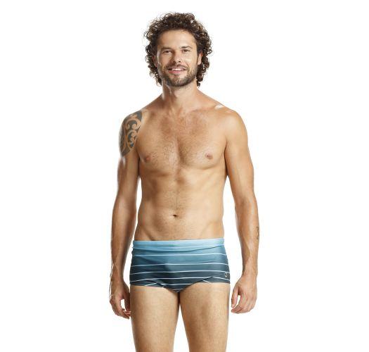 מכנסי בוקסר לגבר צבע כחול מדורג עם פסים לבנים - BLUE LISTROS