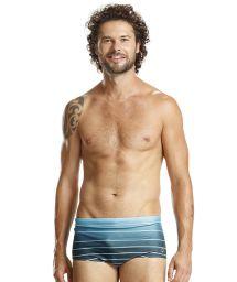 Graded blue swim trunks with white stripes - BLUE LISTROS