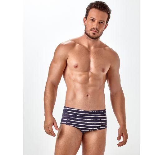 Mens sunga swimming trunks, two-tone stripes - X-FIT SLIM ESTAMPADA