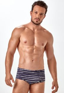 Mens sunga swimming trunks, two-tone stripes - X-FIT SLIM ESTAMPADA