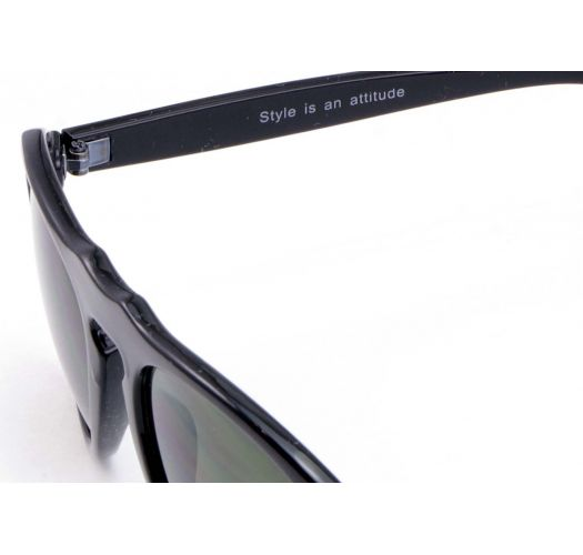 Shiny black sunglasses with gold screws - AYLAN NOIR