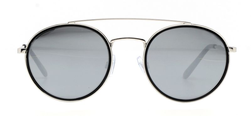 Rounded double bridge silver metal sunglasses - MARGIT ARGENT