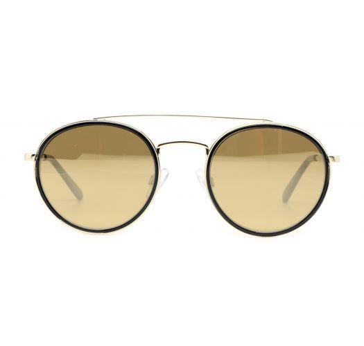 Rundade solglasögon med dubbla guldmetall näsbryggor - MARGIT DORE