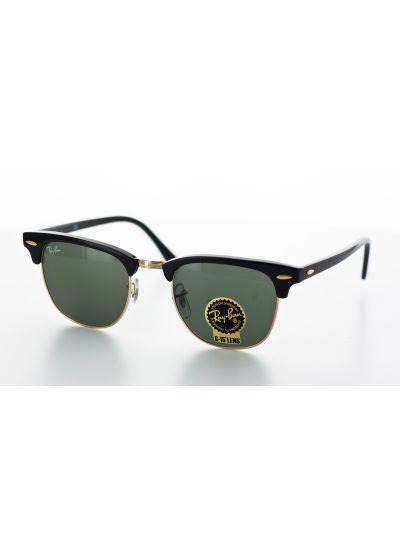 Солнцезащитные очки, черно-золотистая рама, зеленые линзы - CLUBMASTER CLASSIC RB3016