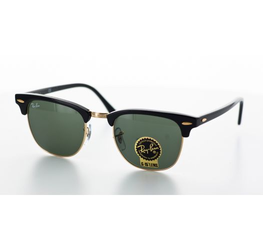 Sunglasses, black and gold coloured frames, green lenses - CLUBMASTER CLASSIC RB3016