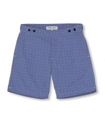 Navy blue / white geometric print beach shorts - ANGRA TAILORED LONG NAVY BLUE