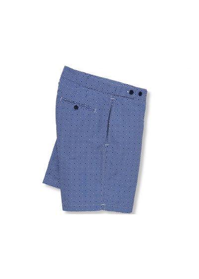 Пляжные шорты с темно-синим и белым геометрическим принтом - ANGRA TAILORED LONG NAVY BLUE