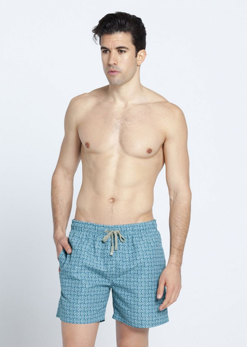 Blue/green printed swimming trunks with pockets - AZANDE