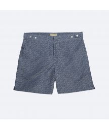 Blue/khaki two-tone printed swimming trunks - DOGON