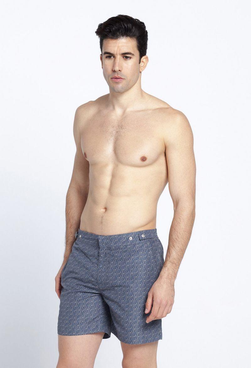 Blue/khaki two-tone printed swimming trunks - DOGON
