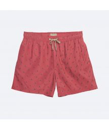 Red swimming shorts with green stitching - HIMBA