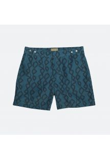 Petrol-blue swimming trunks with black pattern - LORUKUL