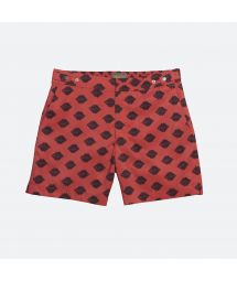 Ethnic-print rust-coloured swimming trunks with black patterns - MOGAMBO