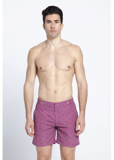 Mauve swimming trunks with blue stitching - NUBA