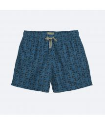 Dark blue men&#39s swimming trunks with black pattern - POKOT