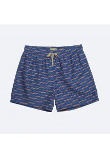 Dark blue men&#39s swimming trunks with pattern and pockets - SHOTO