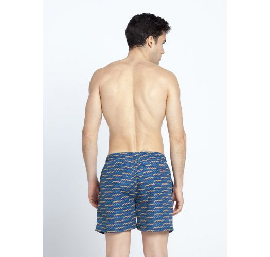 Dark blue men's swimming trunks withpattern and pockets - SHOTO