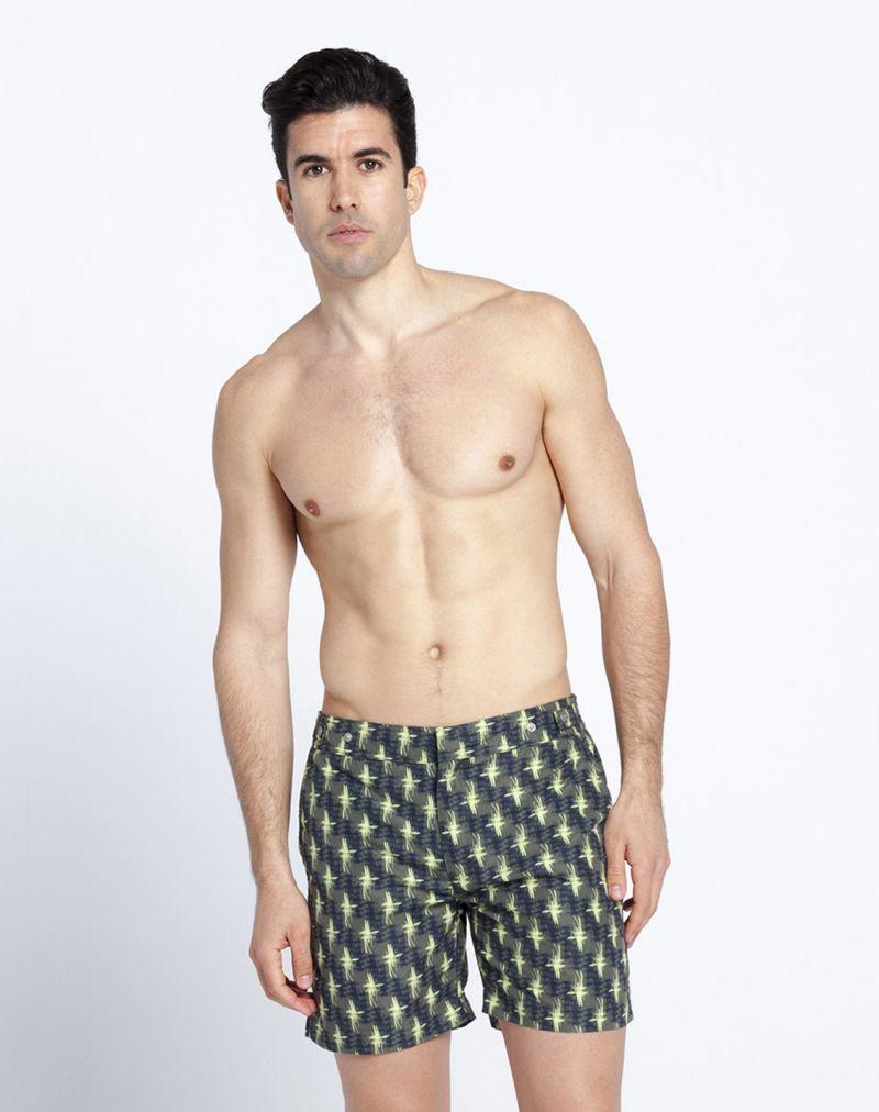Khaki printed swimming shorts with patterns - WODAABE