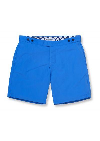 Blåa strandshorts med fickor och justerbar passform - BLOCK TAILORED LONG BLUE